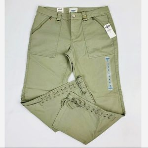NWT Old Navy Army Green Crop Lace Up Pants Size 8